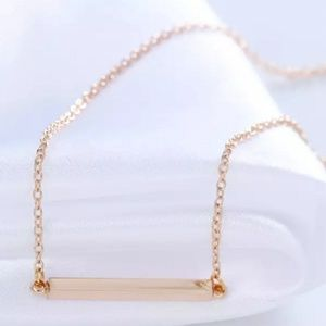 Gold Tone Single Horizontal Bar Necklace